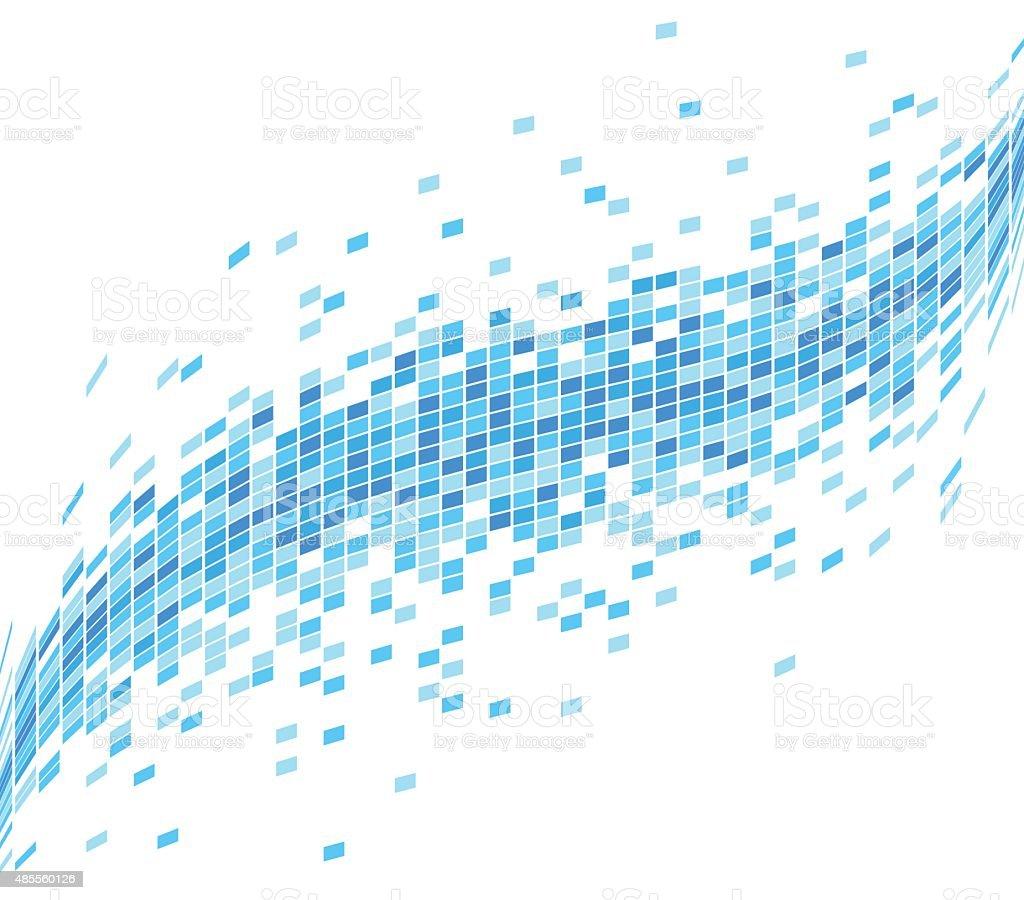 Abstract Blue Mosaic Wave Background - Illustration vector art illustration