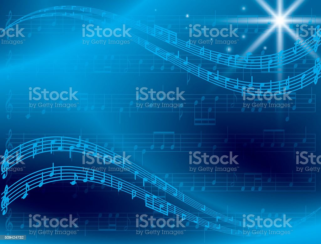 abstract blue music background with star - vector vector art illustration