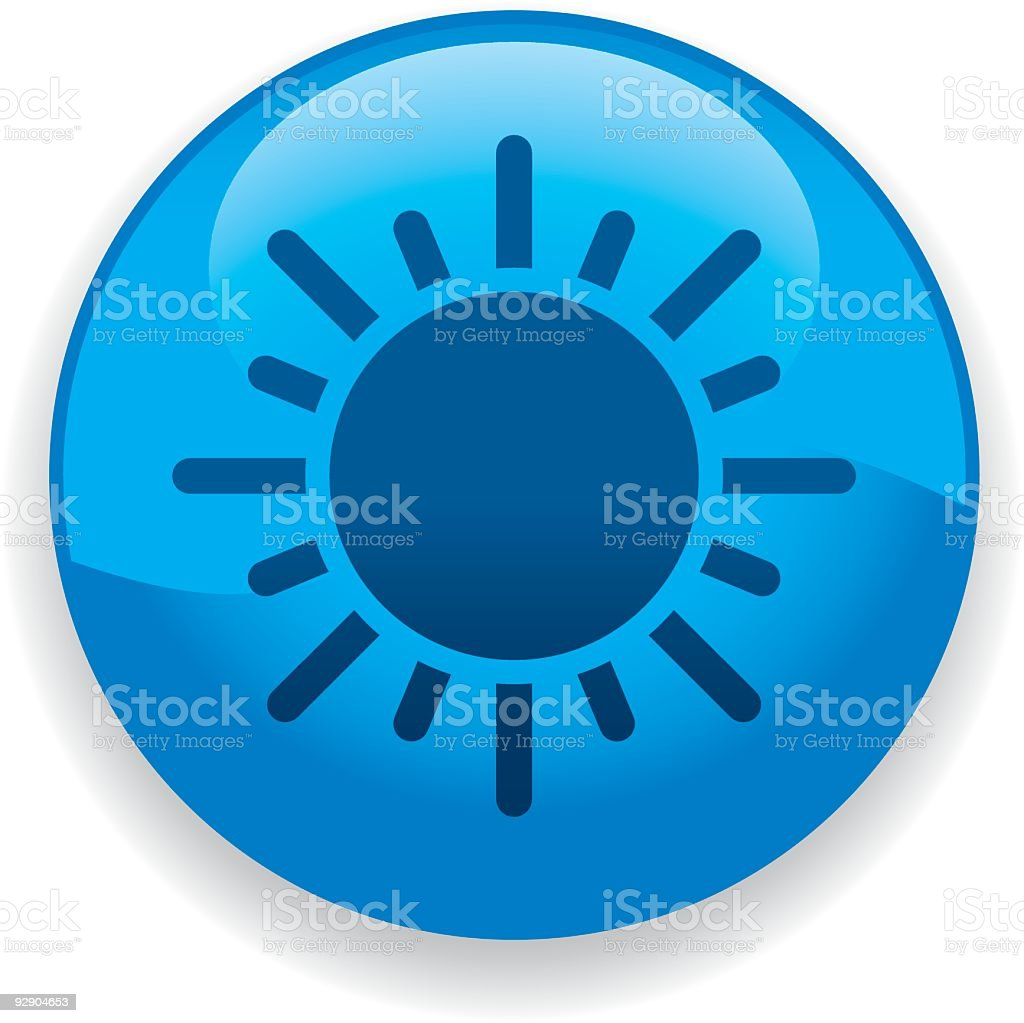 Abstract blue round button with sun icon inside royalty-free stock vector art
