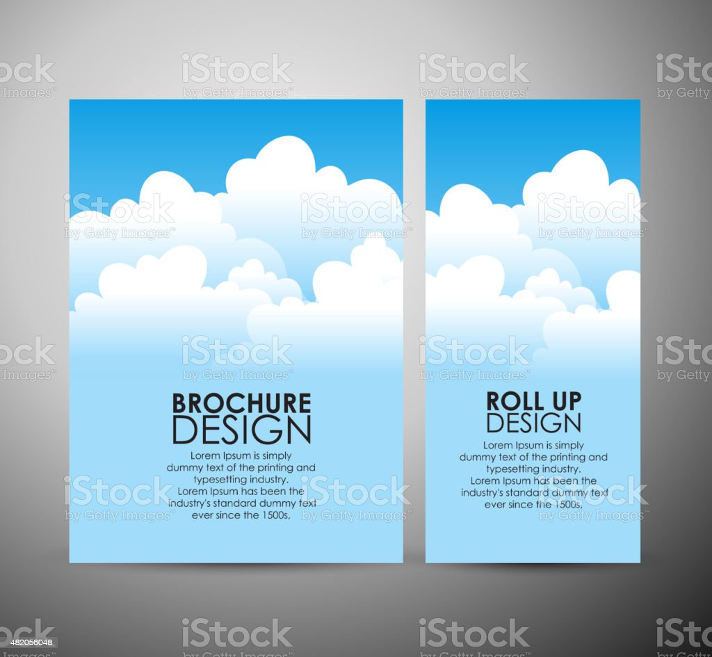 Abstract blue sky brochure business design template or roll up. vector art illustration