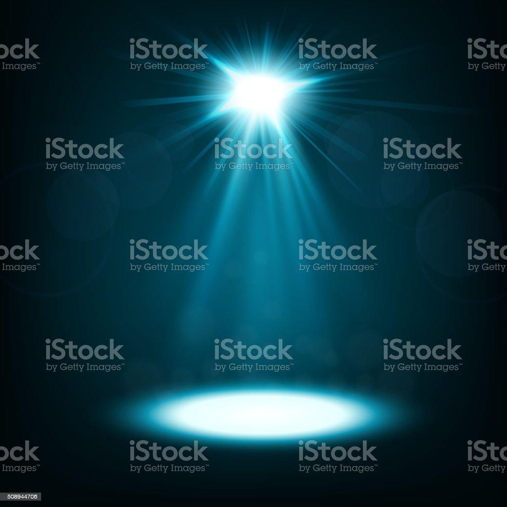 Abstract blue spotlight shiny vector art illustration