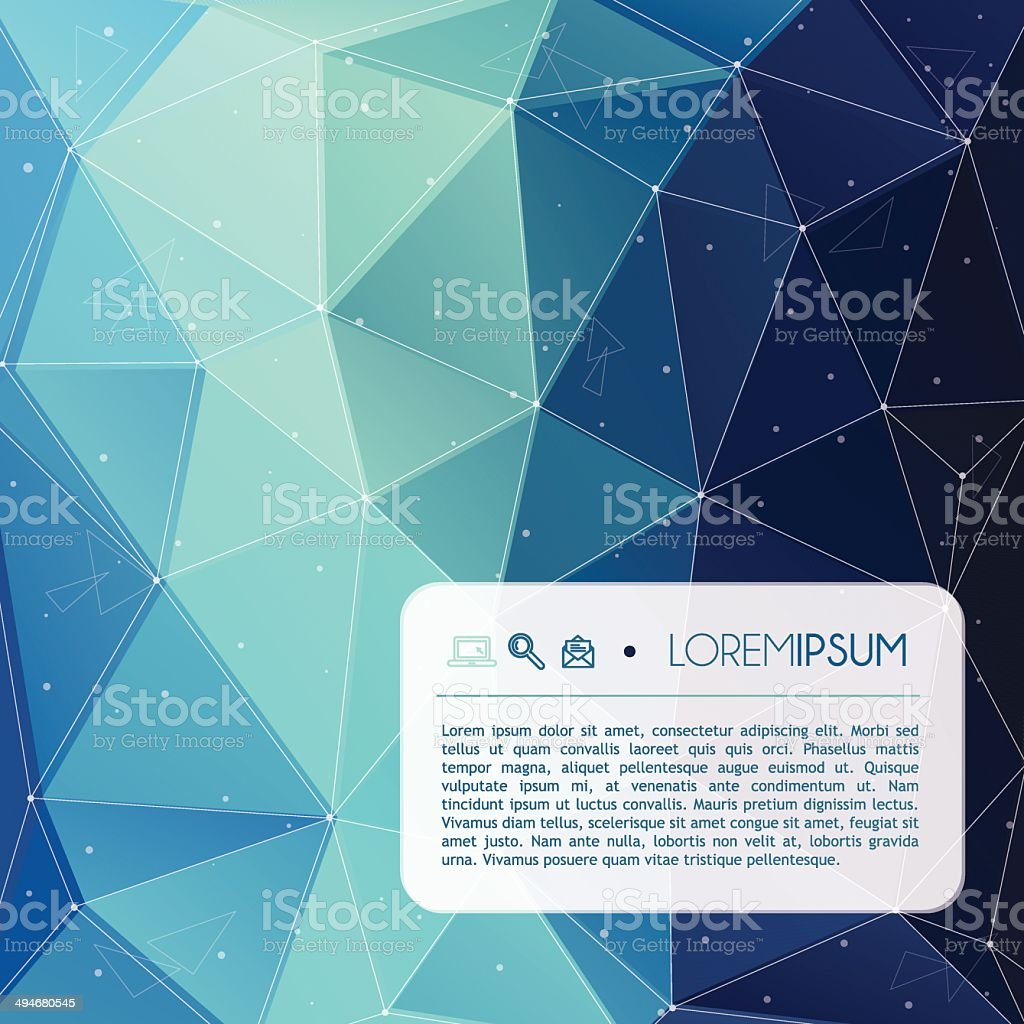 Abstract blue tech background with text and icons royalty-free stock vector art