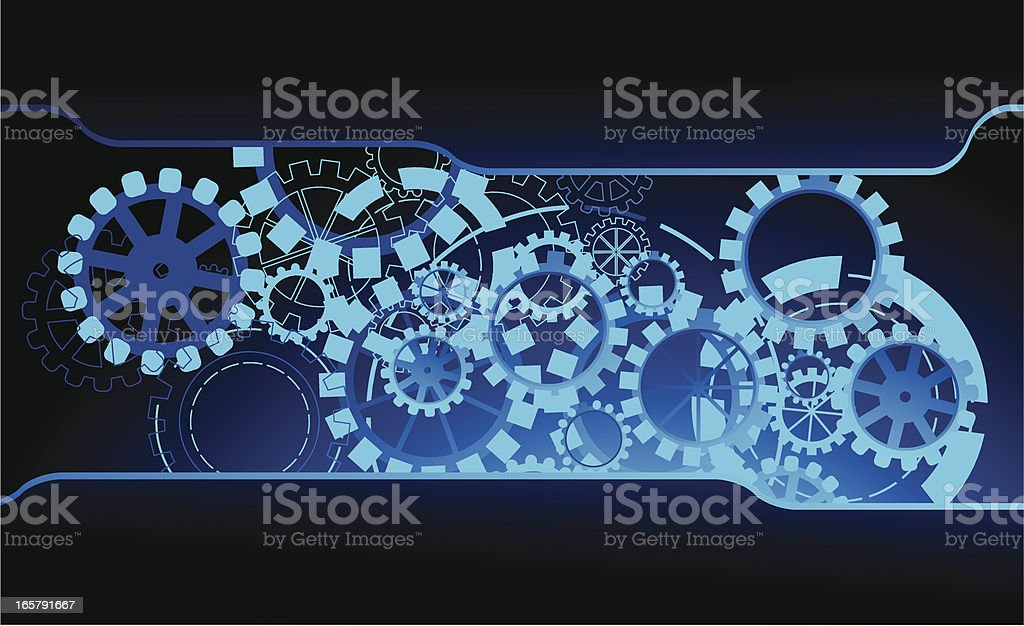 Abstract blue technical background - gears vector art illustration