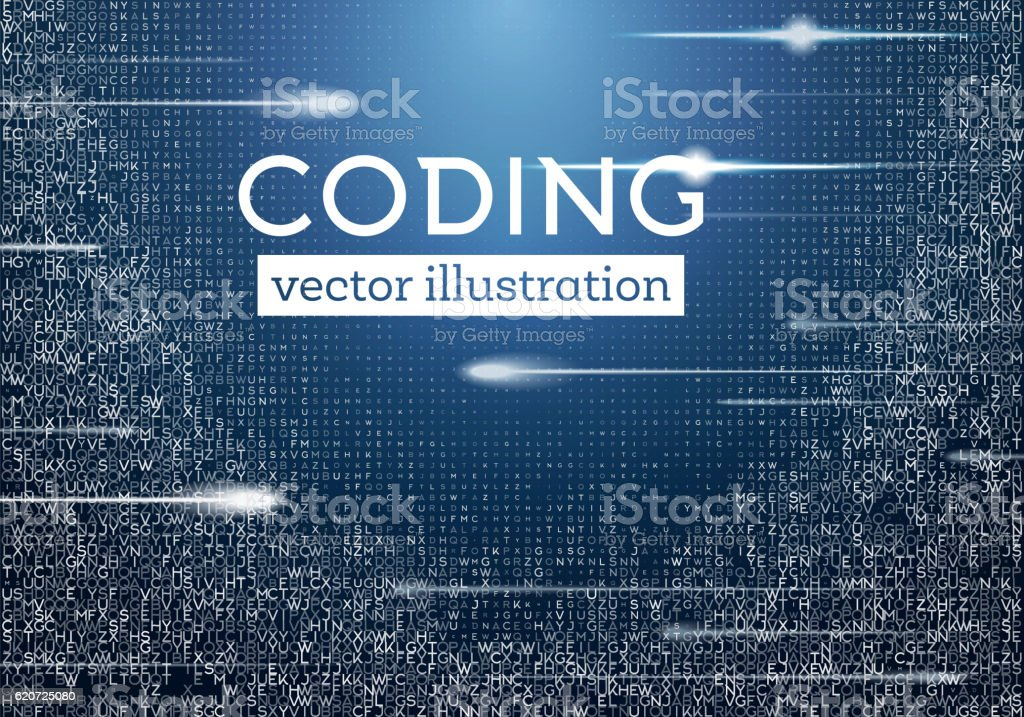 Abstract Blue Technology Background with Different Letters. vector art illustration