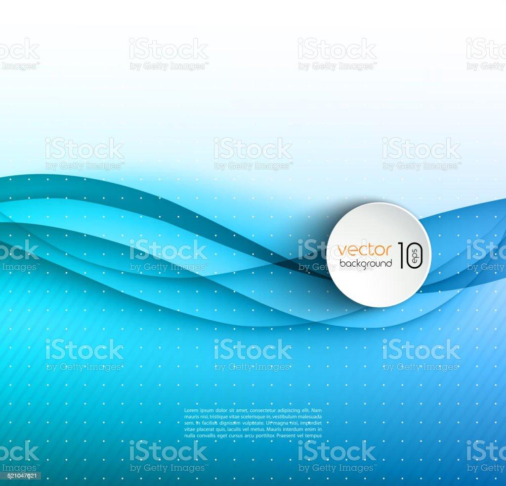 Abstract blue transparent wave background vector art illustration