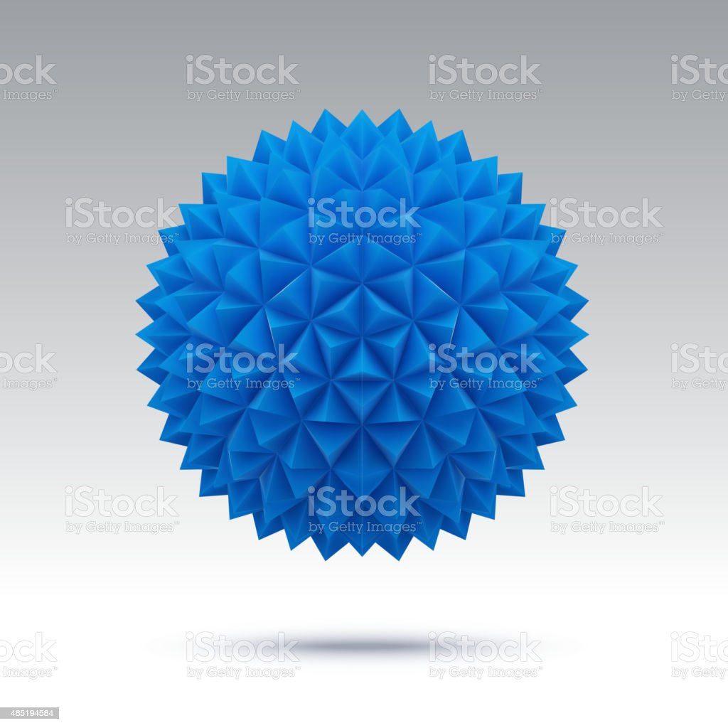 Abstract blue vector sphere with triangular faces vector art illustration