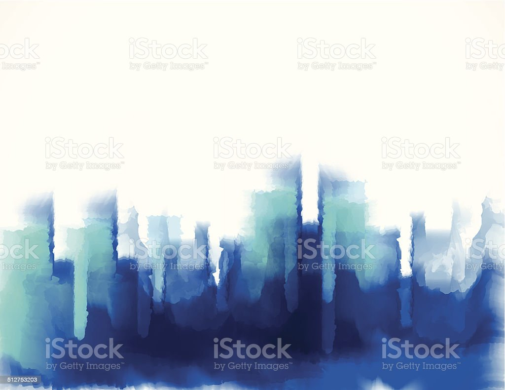 abstract blue watercolor style city building pattern background vector art illustration