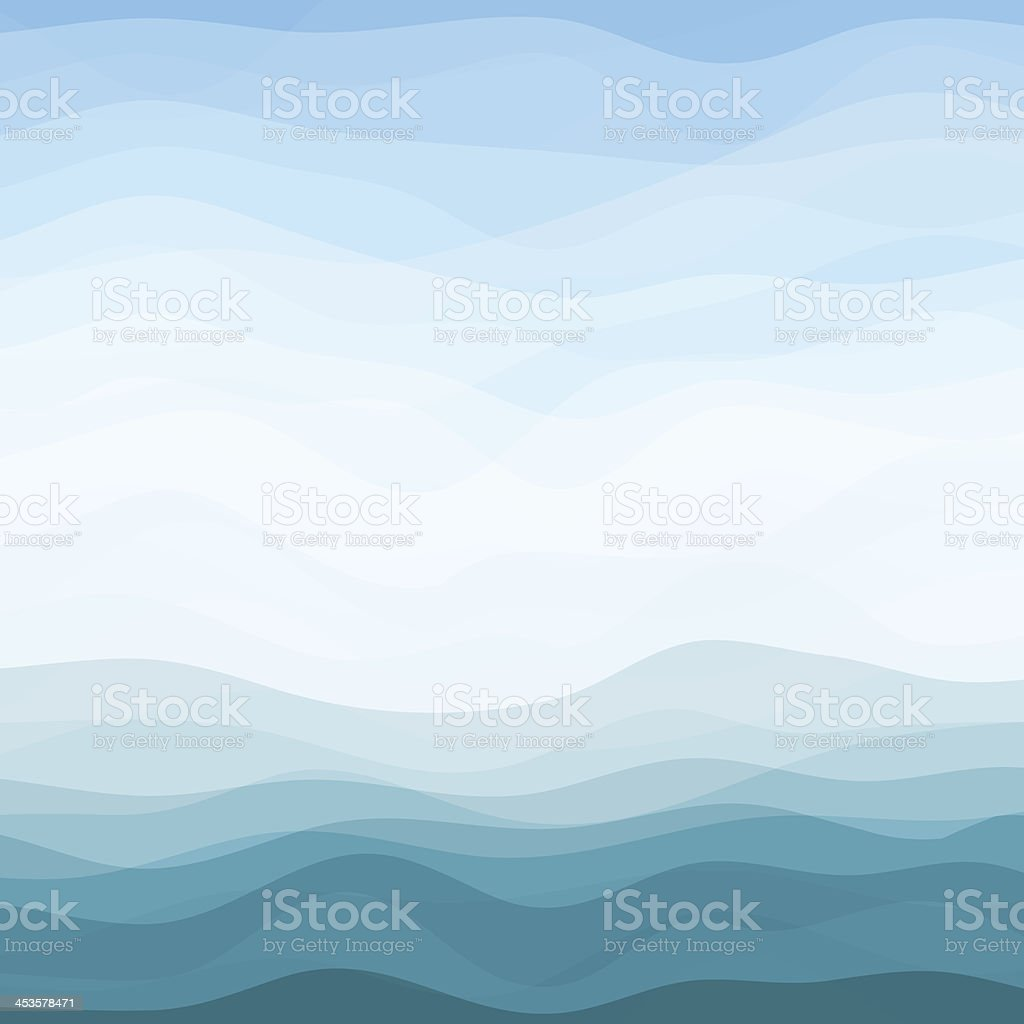 Abstract Blue Wavy Background vector art illustration