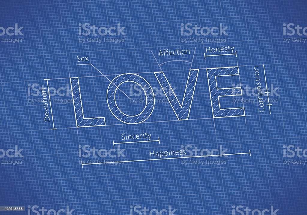 Abstract Blueprint with Love word royalty-free stock vector art
