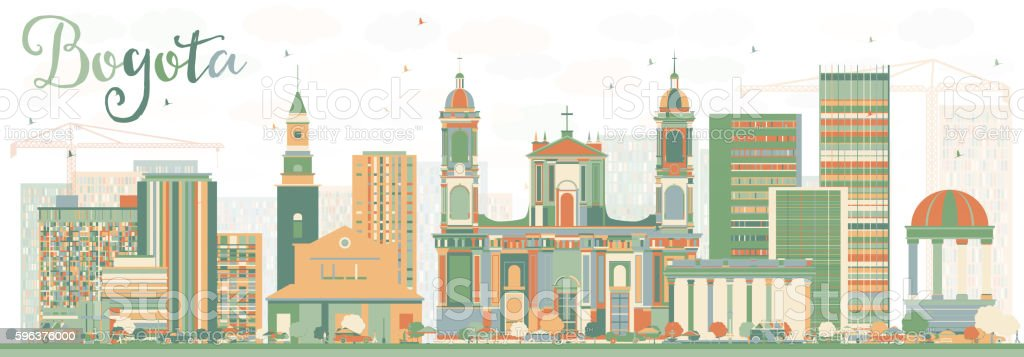 Abstract Bogota Skyline with Color Buildings. vector art illustration