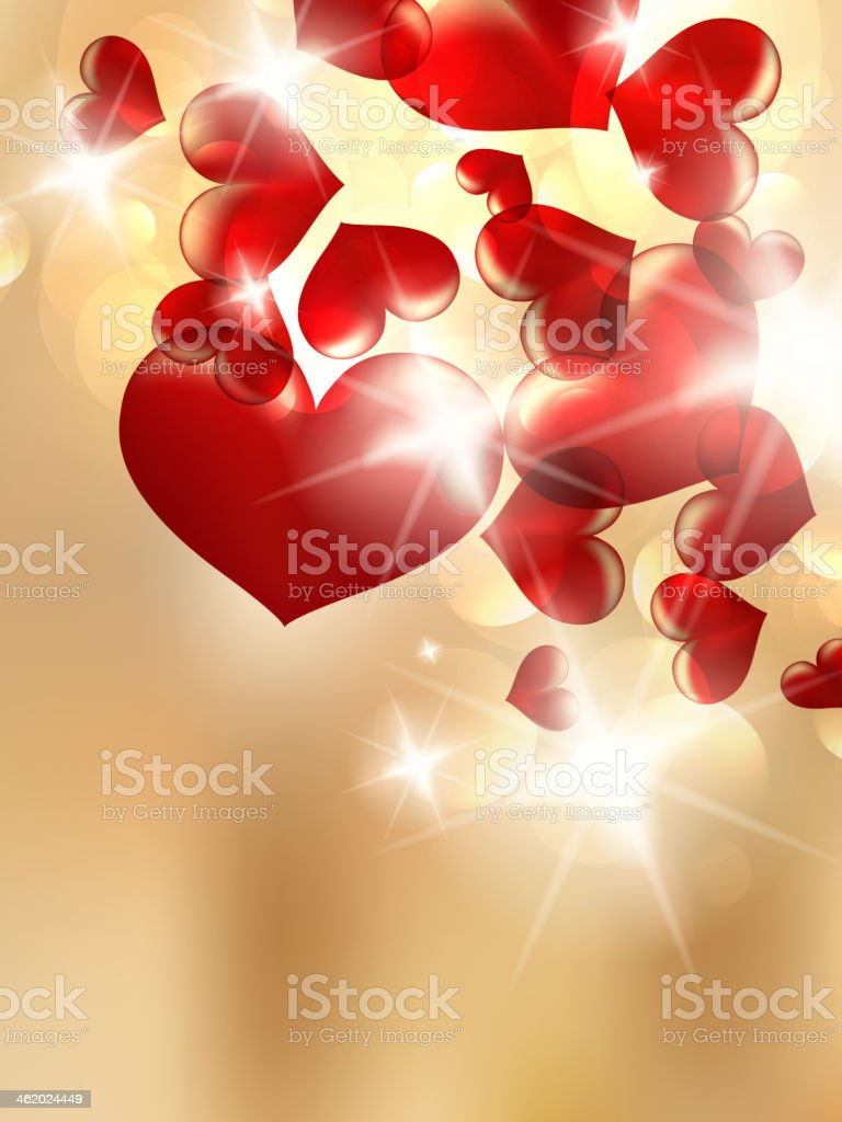 Abstract bokeh bright with red hearts. royalty-free stock vector art
