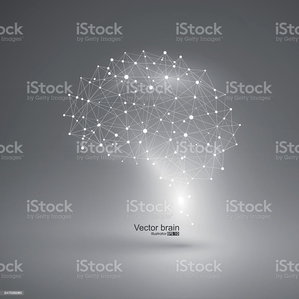 Abstract brain graphic,points and lines connected to form. vector art illustration