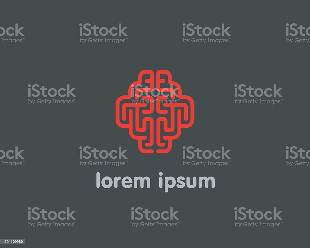 Abstract brain logo generate idea design template. Color line android vector art illustration