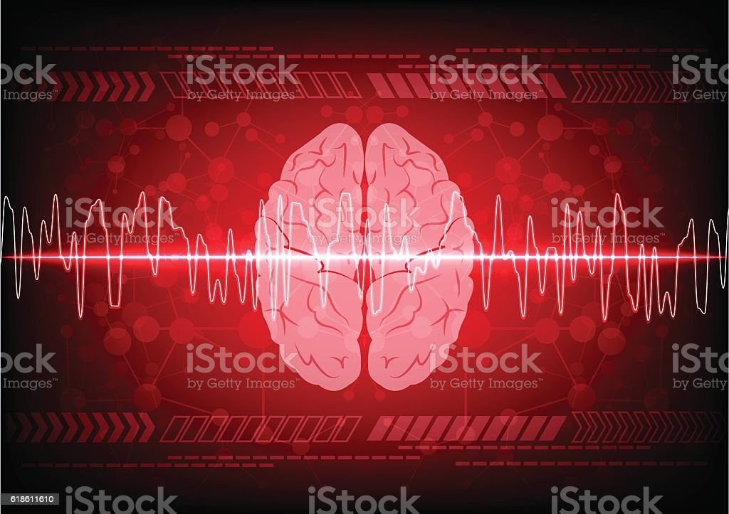 Abstract brain wave concept on blue background technology. illus vector art illustration
