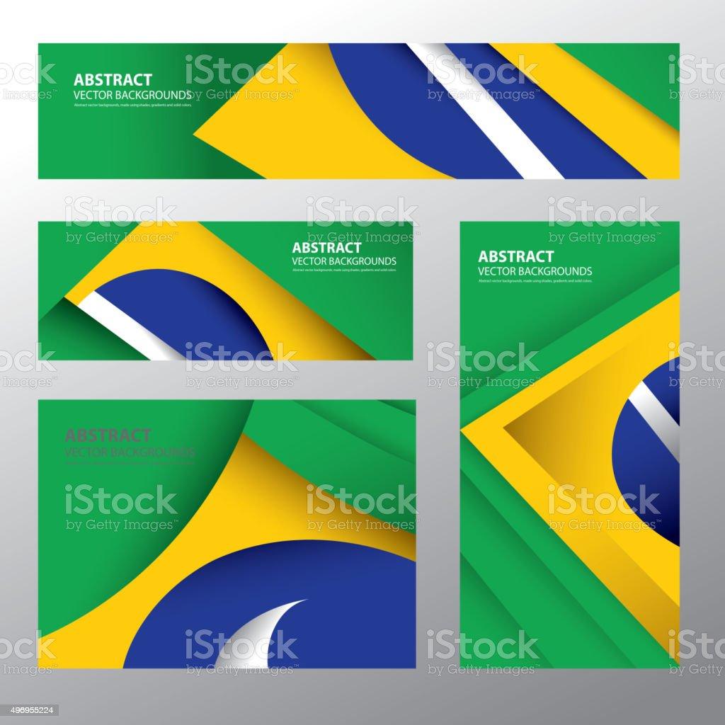 Abstract Brazil Flag, Brazilian Colors (Vector Art) vector art illustration