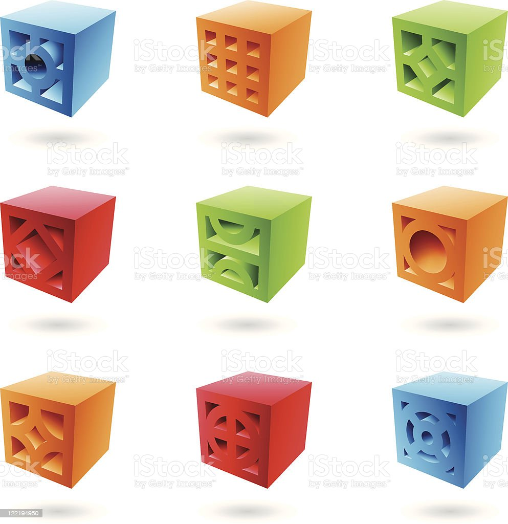 Abstrait Cubes de briques stock vecteur libres de droits libre de droits