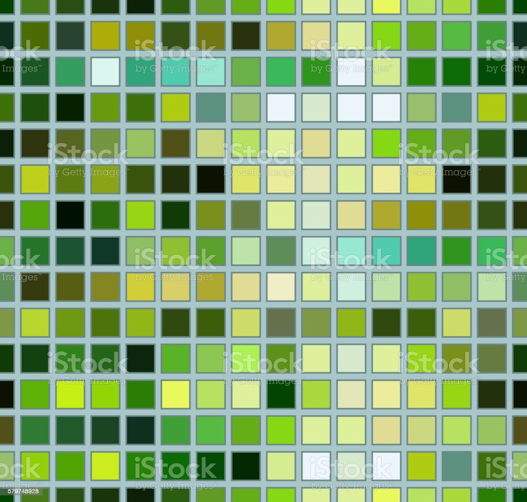 Abstract bright background with green squares vector art illustration
