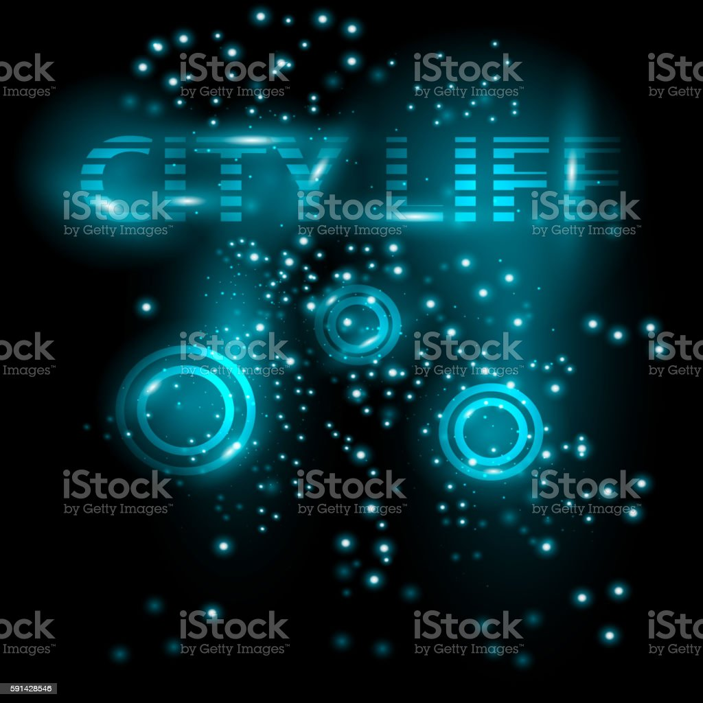 Abstract bright glowing background. City Live. Vector vector art illustration