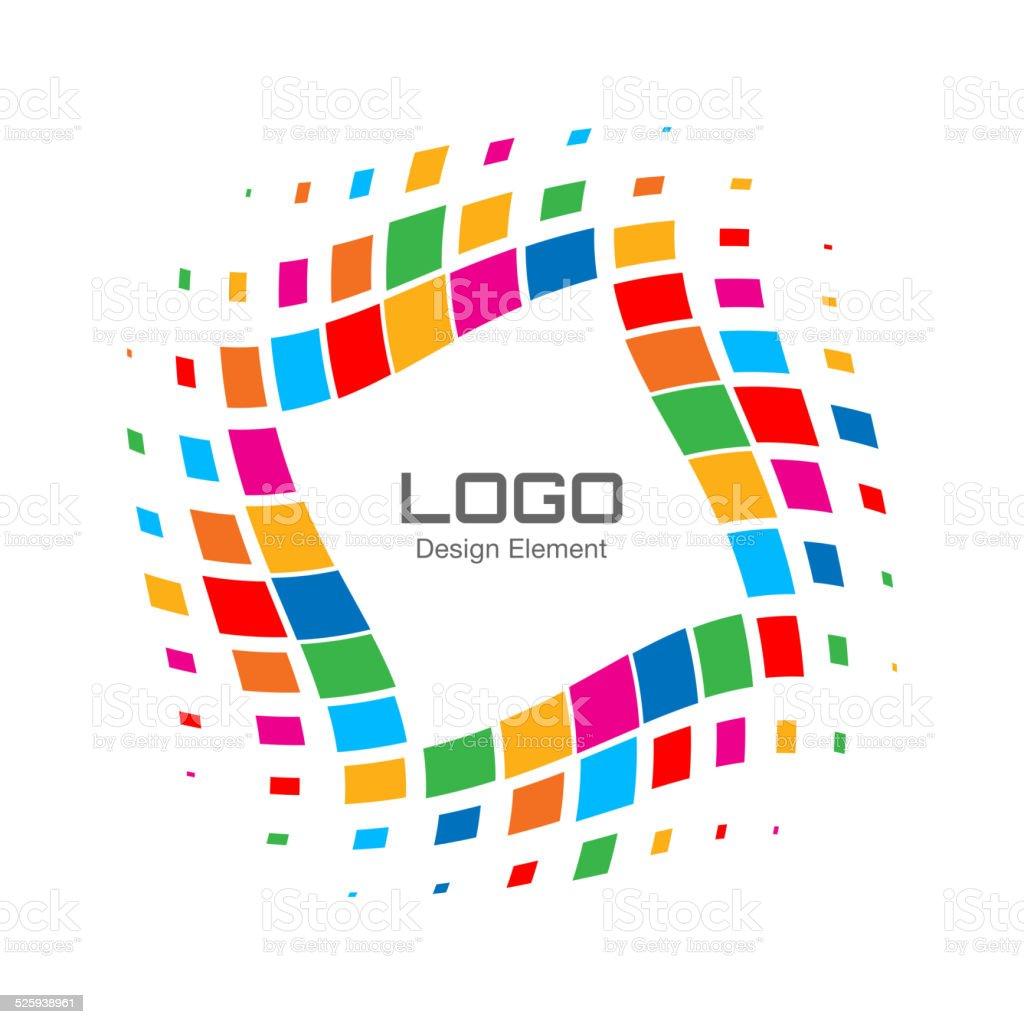 Abstract Bright Rainbow Halftone Logo vector art illustration