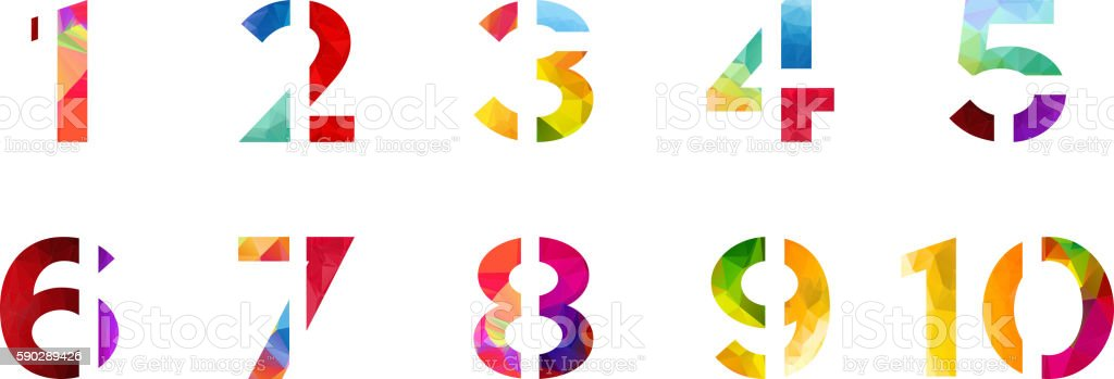 Abstract bright rainbow polygon number alphabet colorful font style. vector art illustration