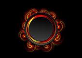 Abstract bright swirl shapes and black circle