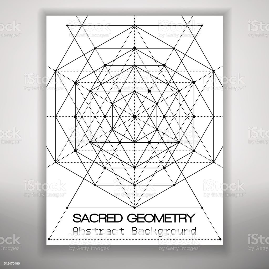 Abstract brochure template with sacred geometry drawing, Vector illustration. vector art illustration