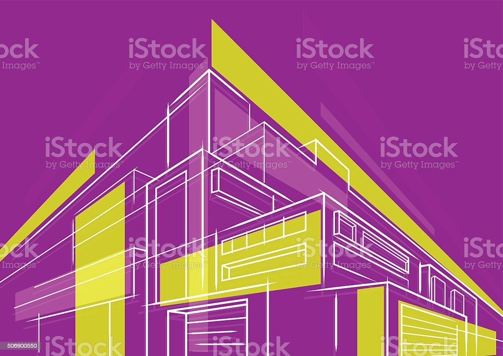 Abstract building drawing 3d vector art illustration