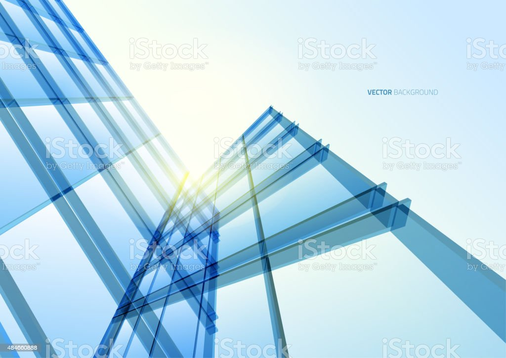 Abstract building from the lines vector art illustration
