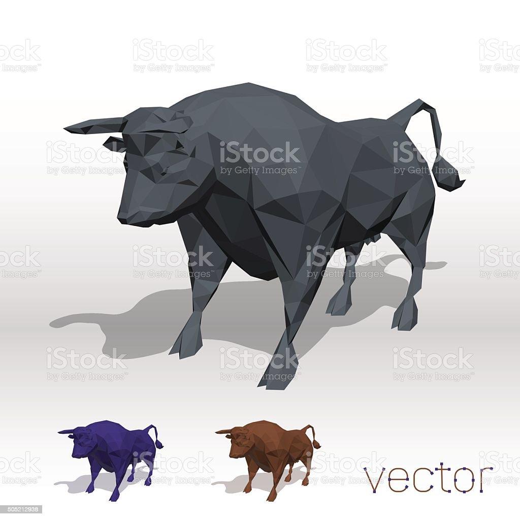 Abstract bull polygonal. vector art illustration
