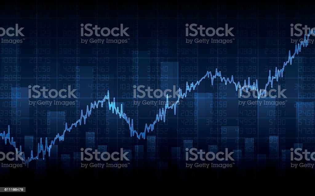 Abstract Business chart on dark blue background (vector) vector art illustration
