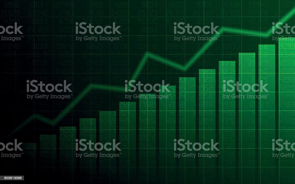 Abstract Business chart with uptrend line graph on green background vector art illustration