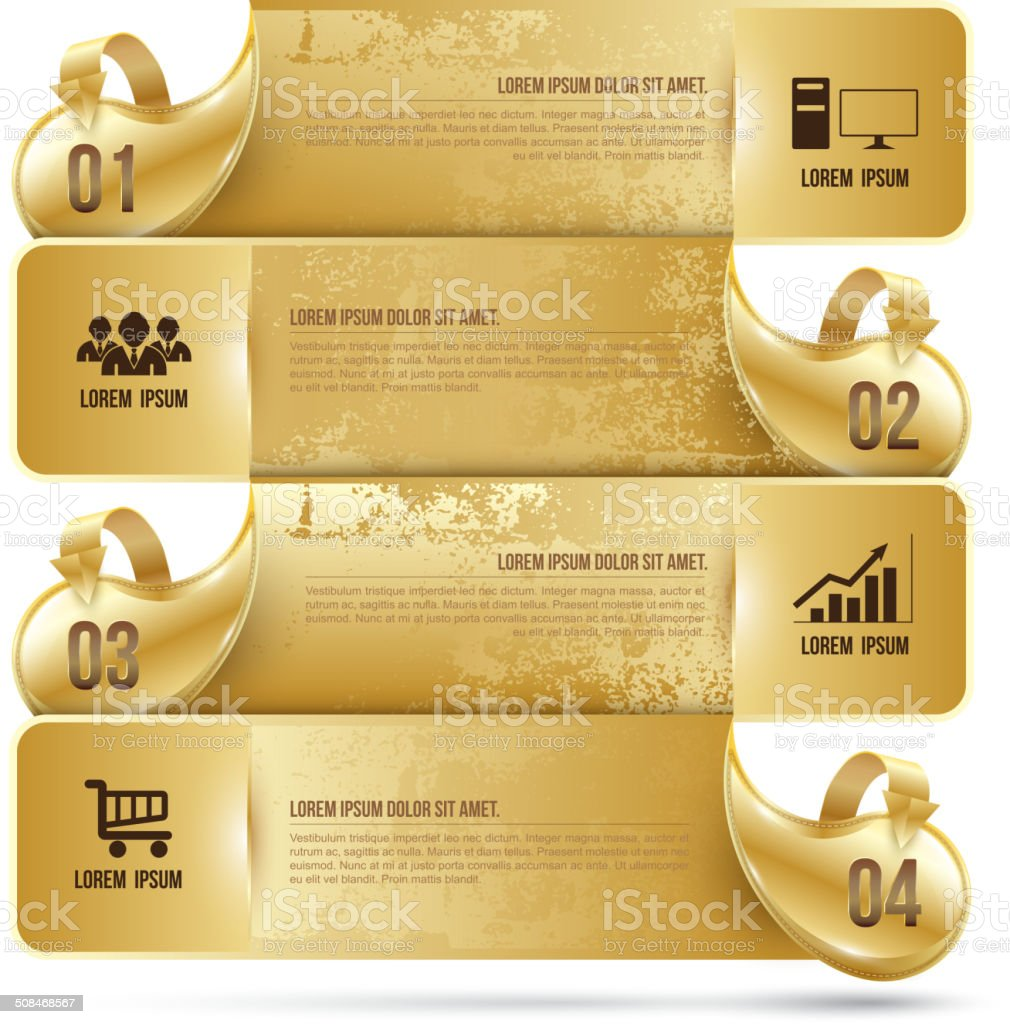 Abstract business infographics number options template gold. Vec vector art illustration
