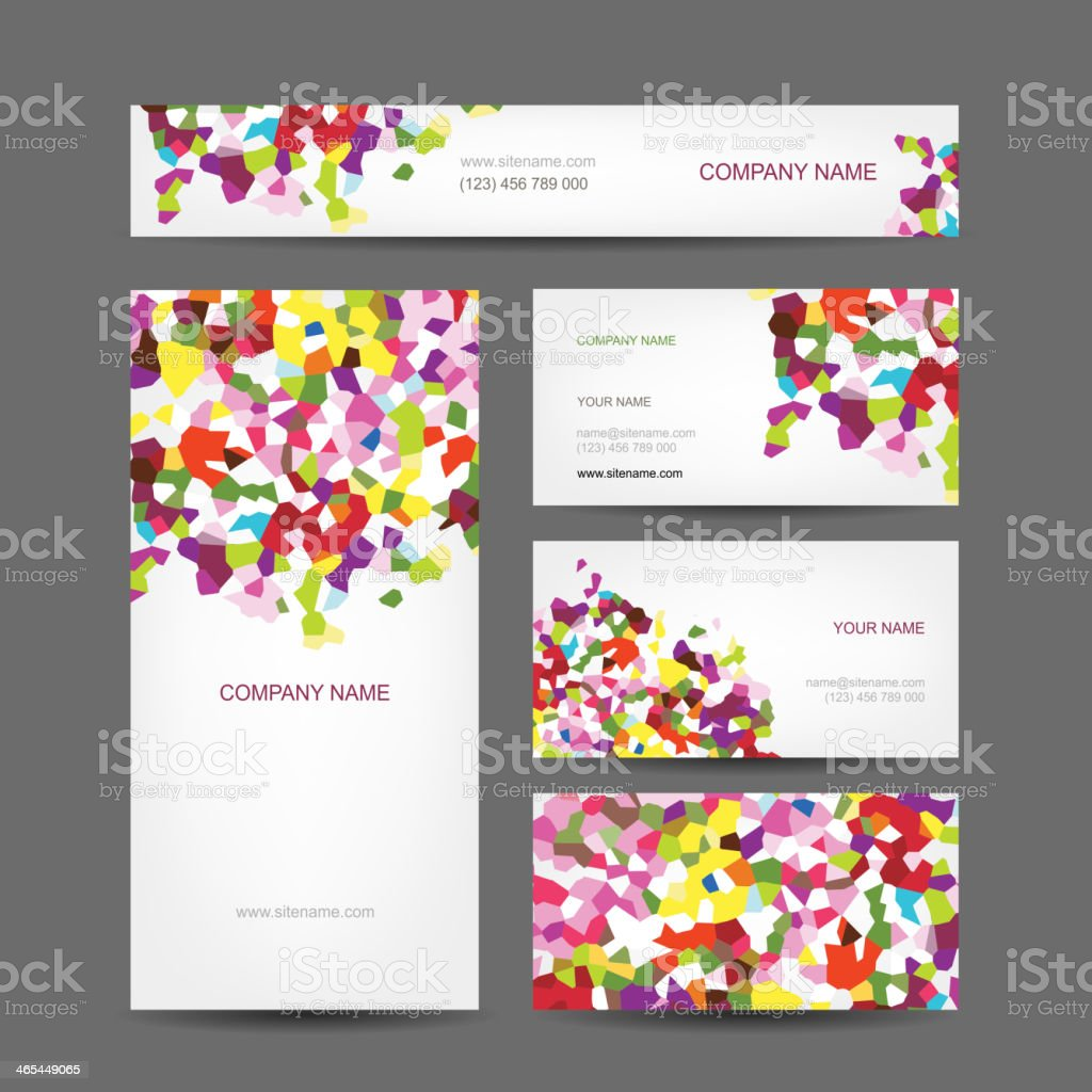 Abstract business templates with colorful designs and text vector art illustration