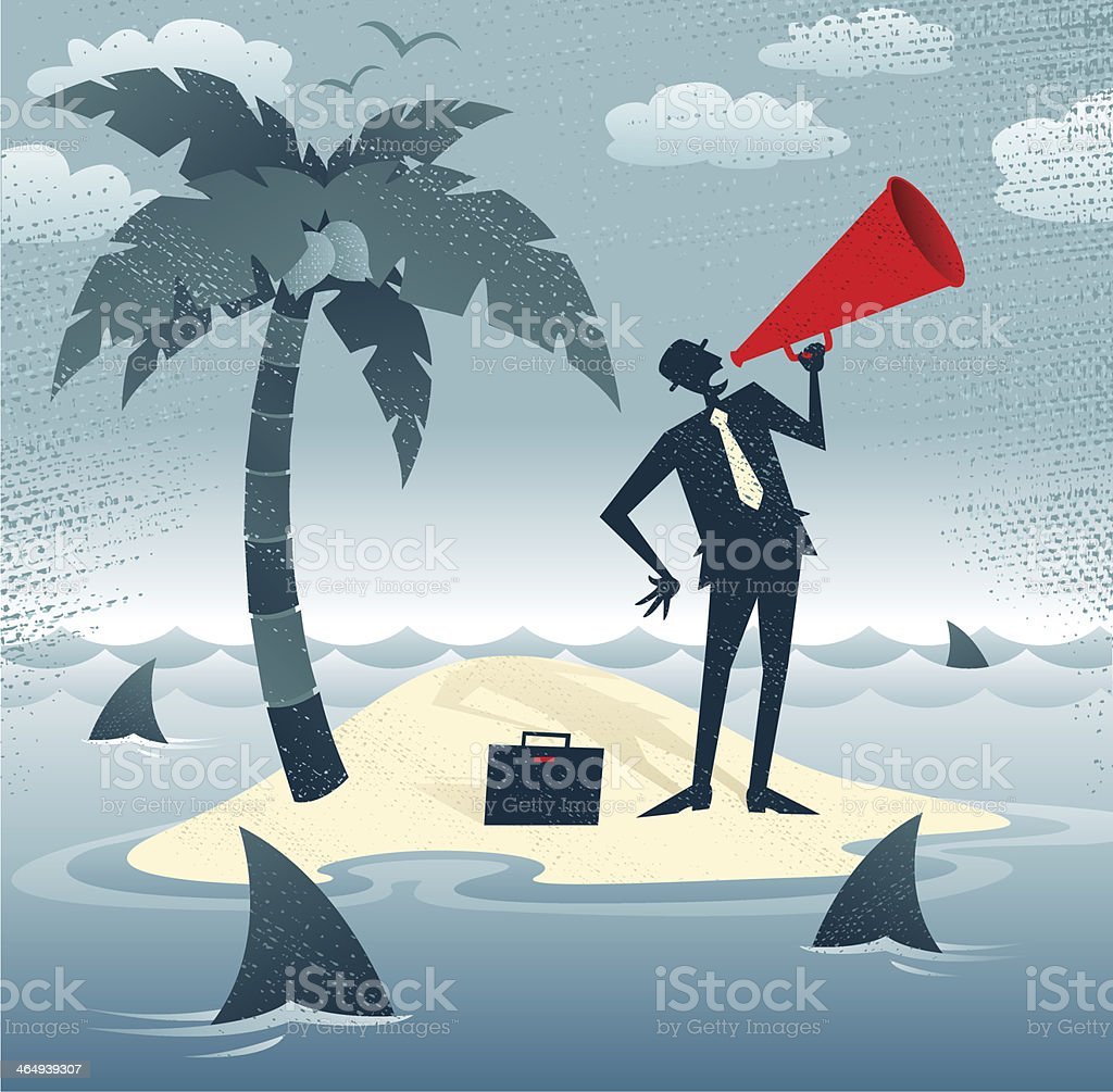 Abstract Businessman Calls for Help on an Island. vector art illustration