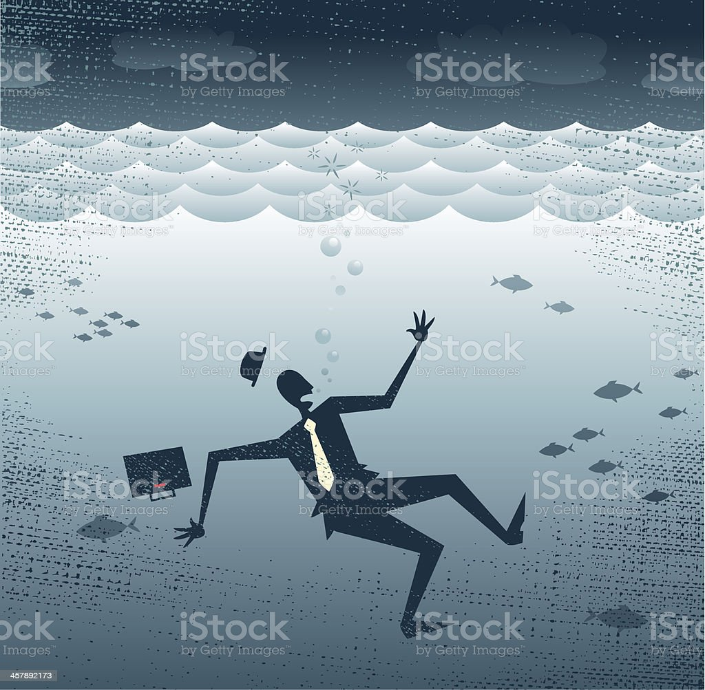 Abstract Businessman Drowning. royalty-free stock vector art
