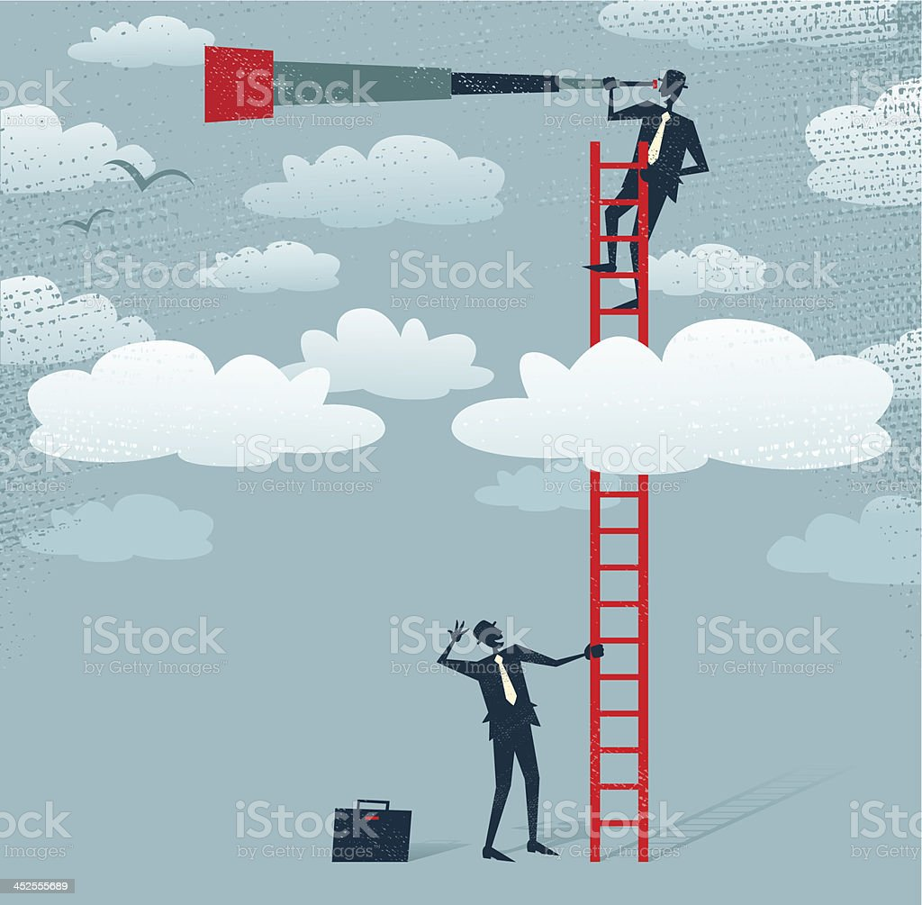 Abstract Businessman gets a better view. vector art illustration