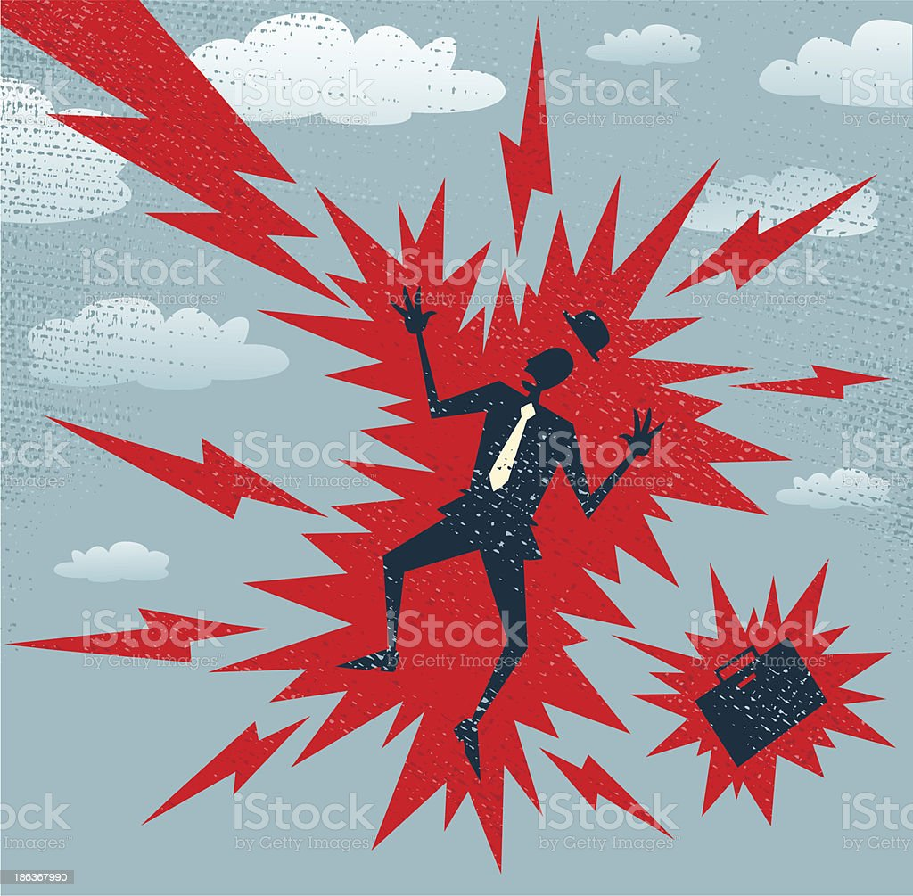 Abstract Businessman has a Big Shock. royalty-free stock vector art