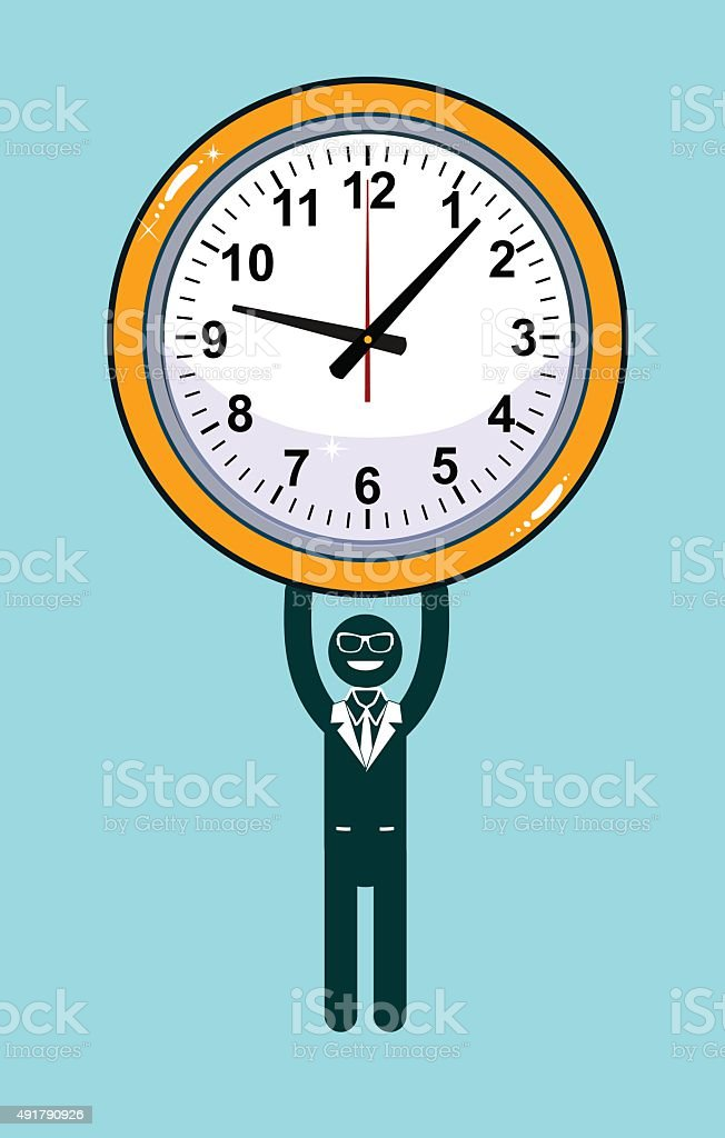 Abstract Businessman holding Time vector art illustration