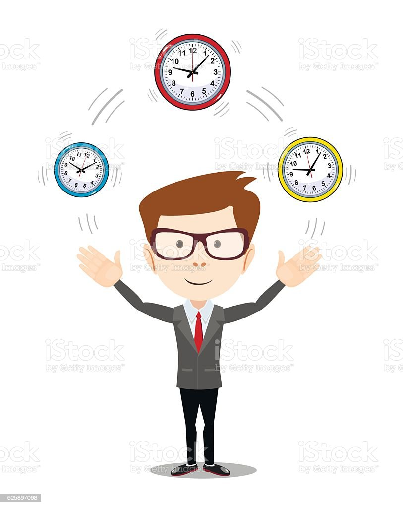 Abstract Businessman holding Time. vector art illustration