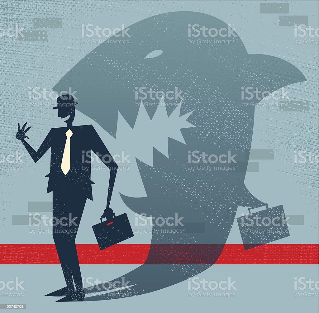 Abstract Businessman is a Shark in Disguise vector art illustration