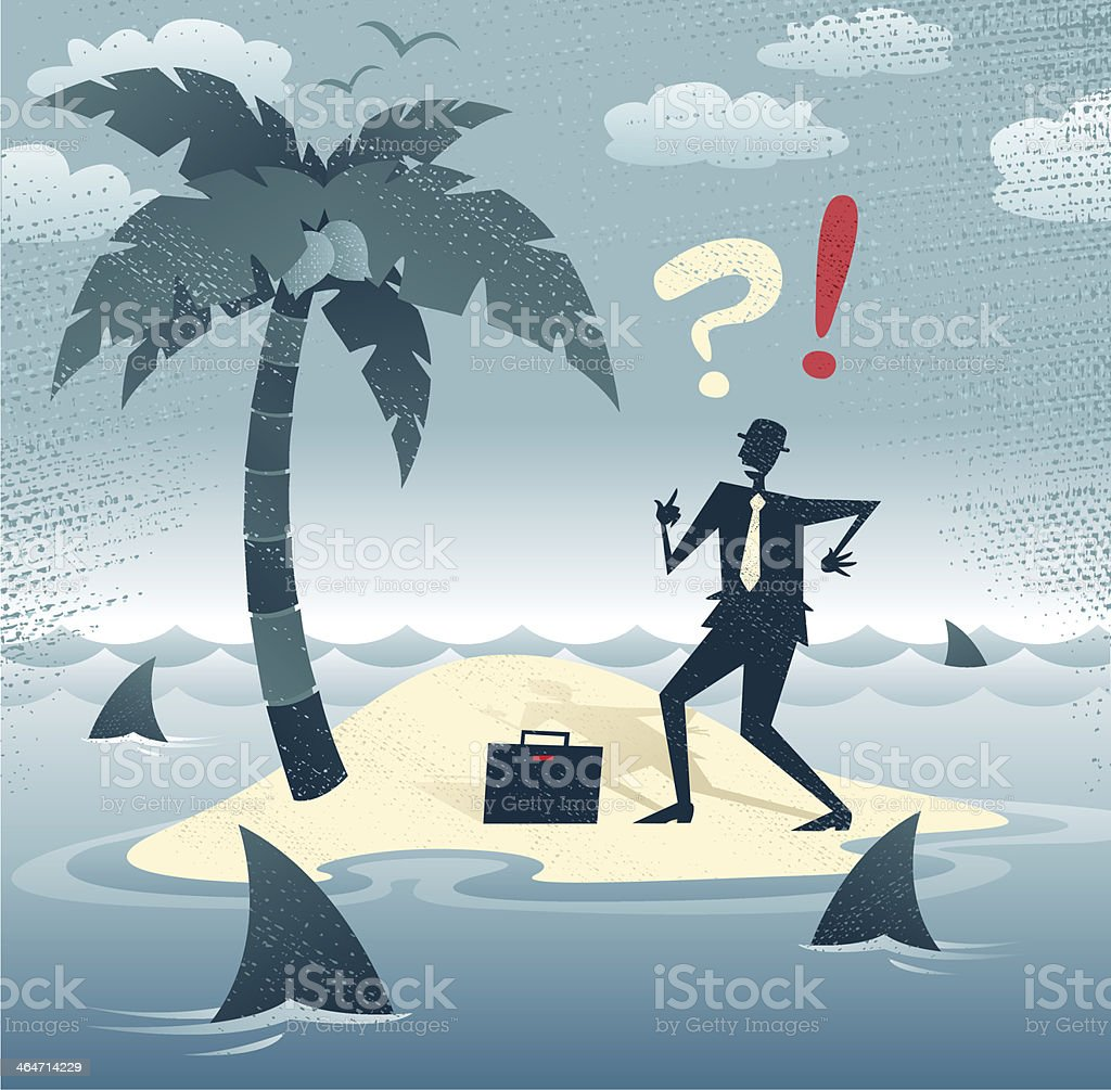 Abstract Businessman is trapped on an Island. vector art illustration