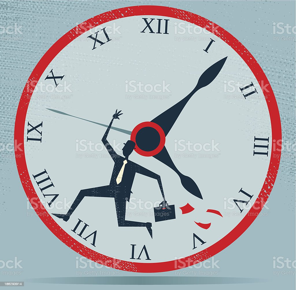 Abstract Businessman Running against the Clock. royalty-free stock vector art