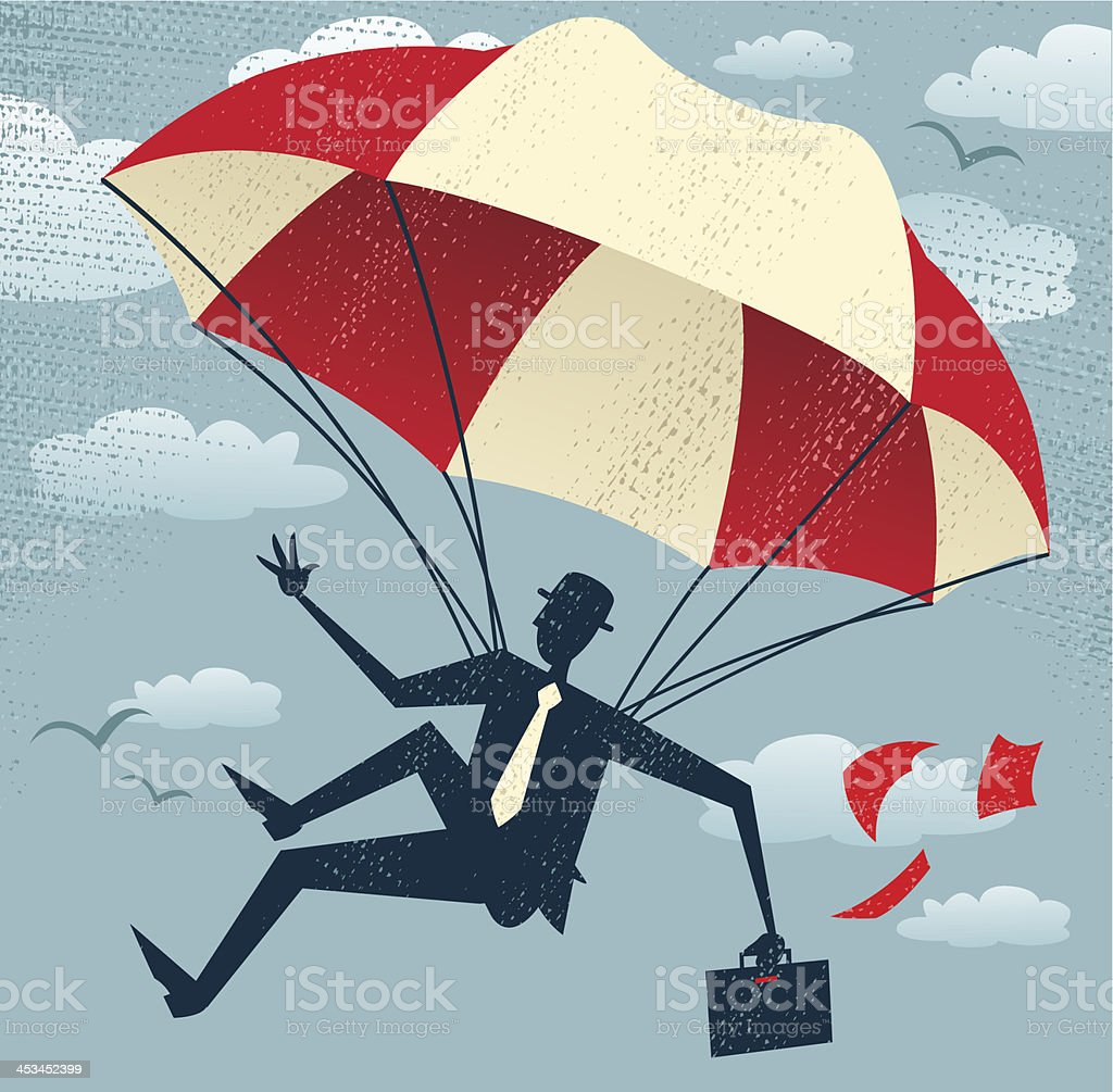 Abstract Businessman uses his Parachute. vector art illustration