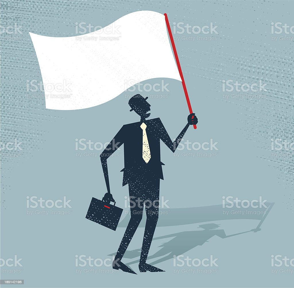 Abstract Businessman waves the white flag of defeat. royalty-free stock vector art