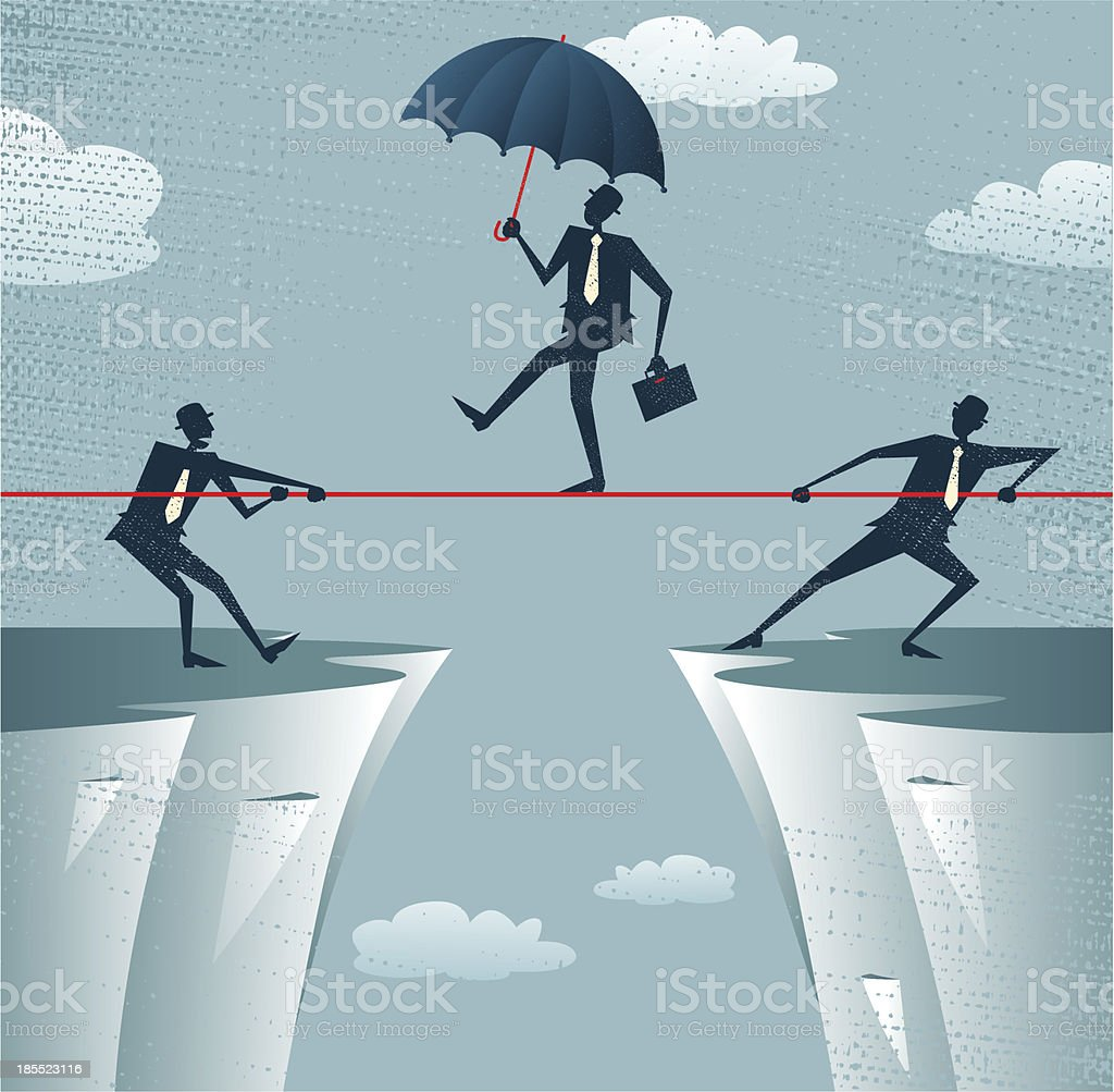 Abstract Businessmen Pulling together on a cliff. royalty-free stock vector art