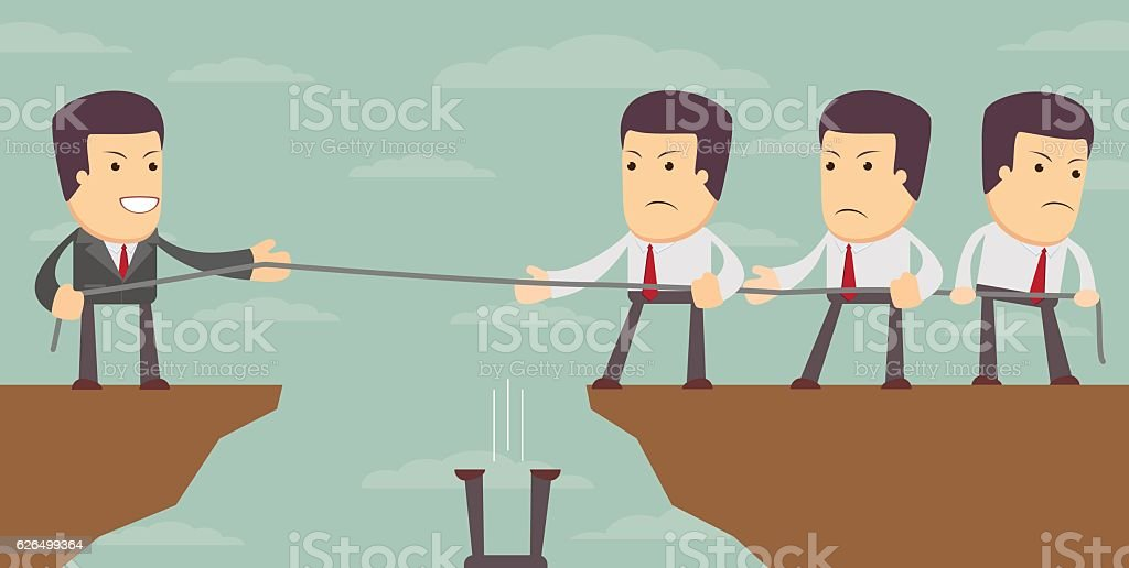 Abstract Businessmen Tug of war on a cliff. vector art illustration