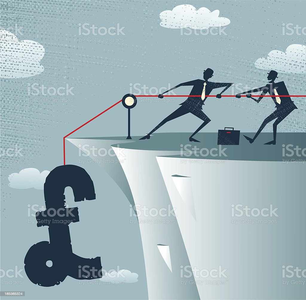 Abstract Businessmen work together to save the money. vector art illustration