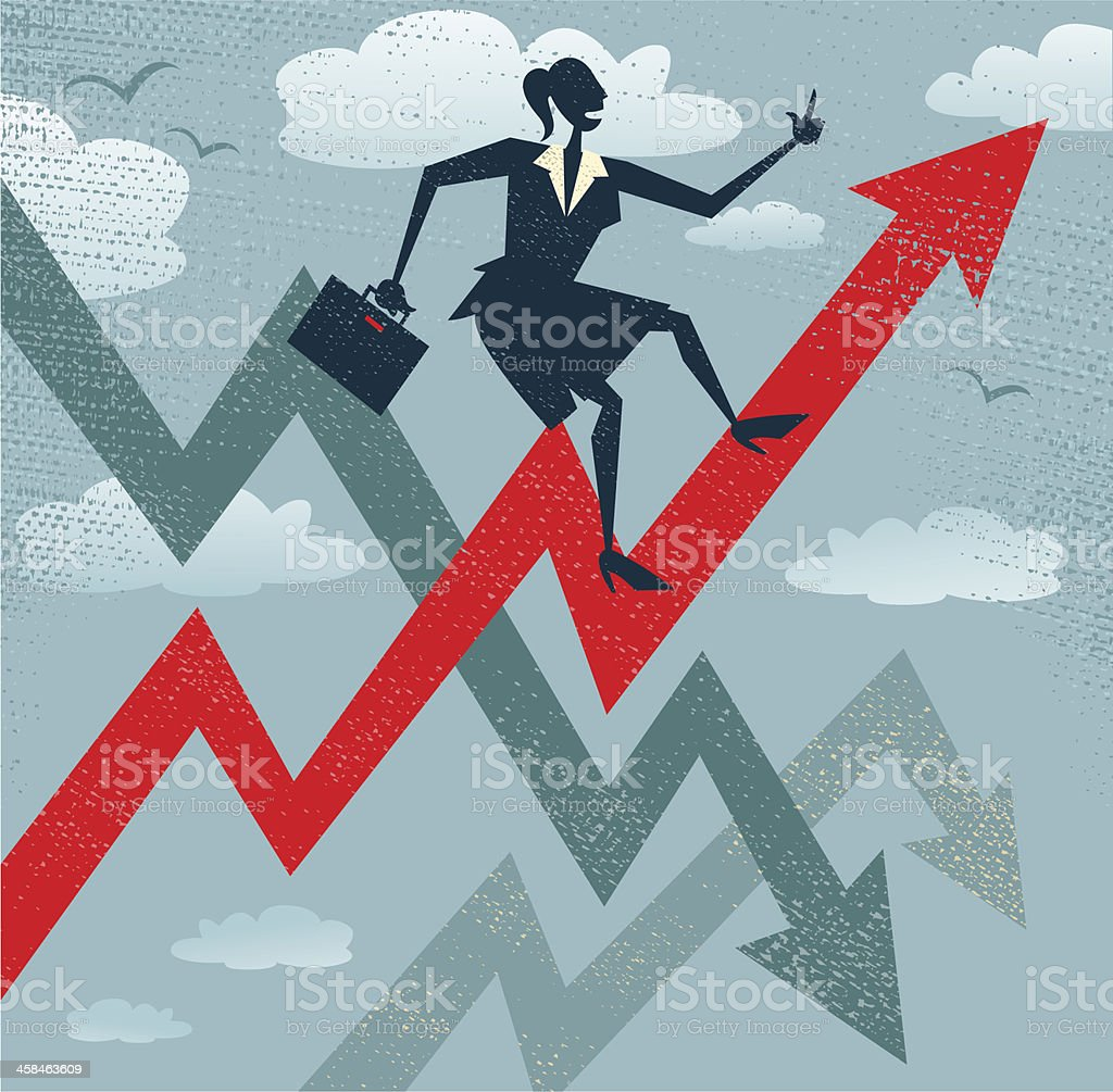 Abstract Businesswoman Climbs the Sales Chart. vector art illustration