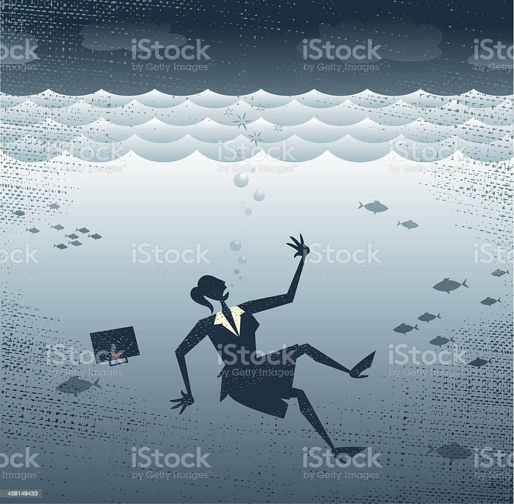 Abstract Businesswoman Drowning. royalty-free stock vector art