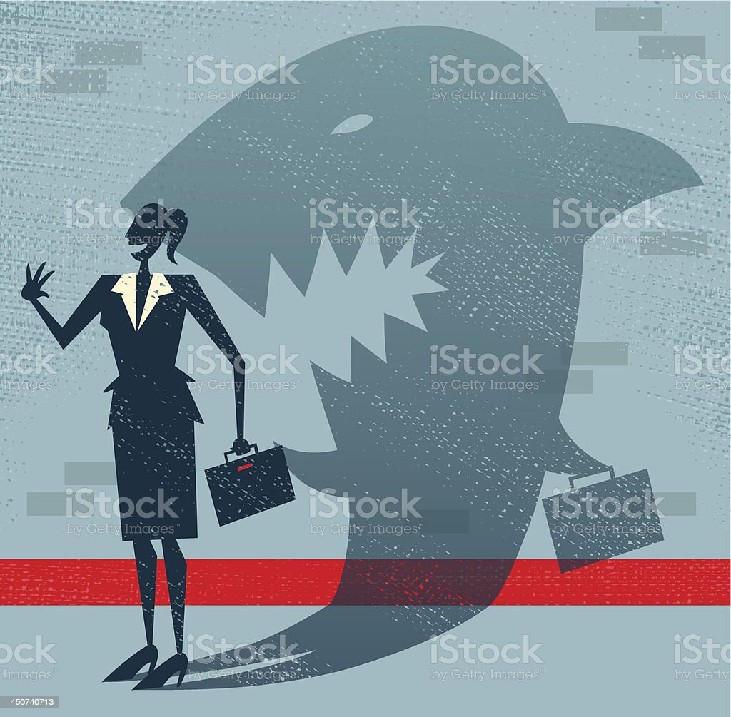 Abstract Businesswoman is a Shark in Disguise. vector art illustration